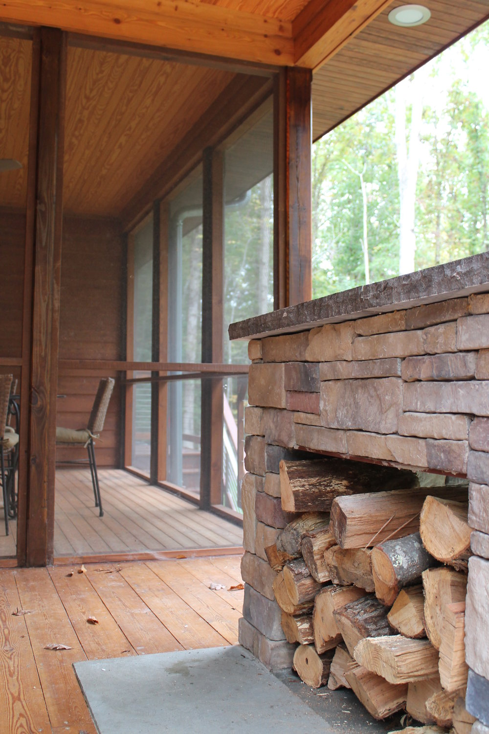 Wood storage on the porch.