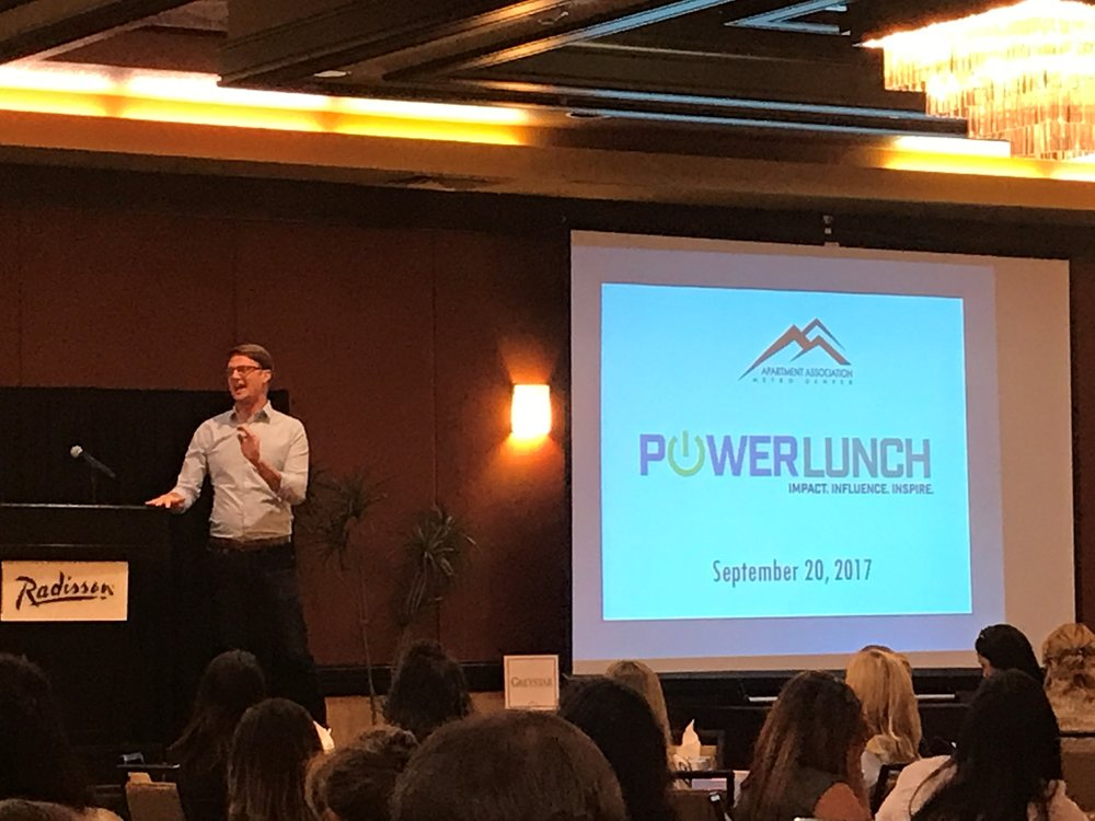 Ryan Avery presents at the Apartment Association of Metro Denver's September Power Lunch