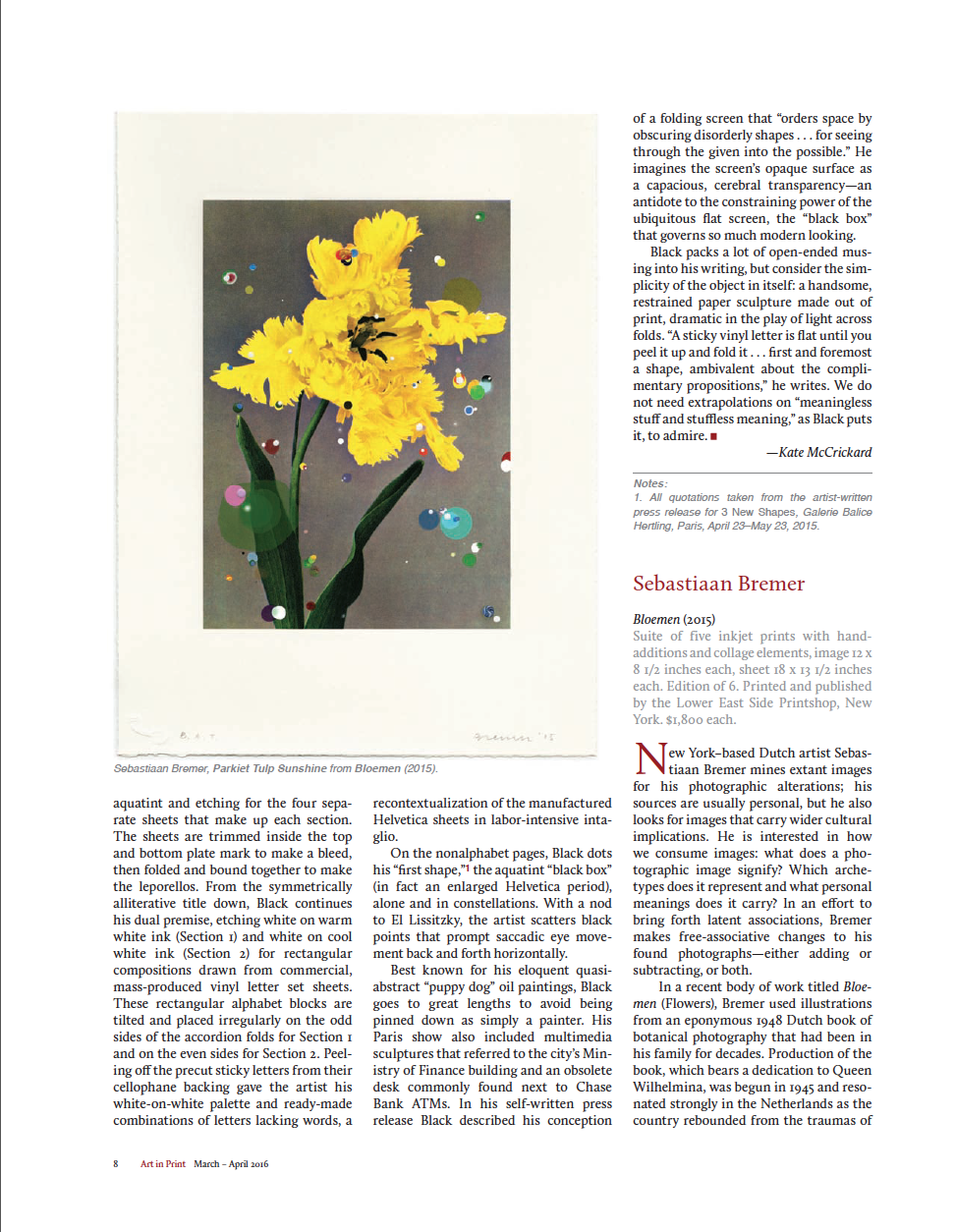 Sebastiaan Bremer in Art in Print  - Global Journal of Prints and Ideas, Volume 5, Number 6March - April 2016