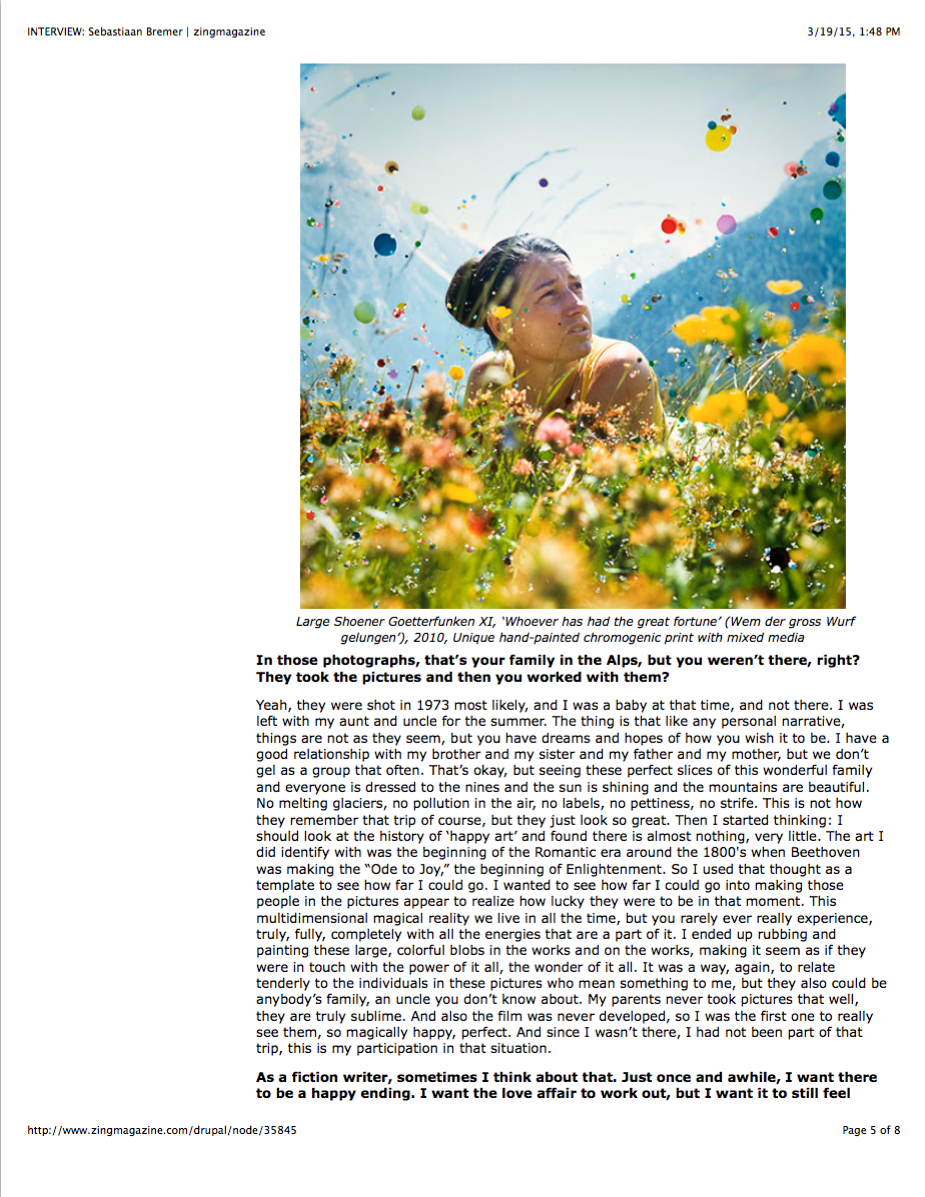 Zing Magazine Interviews Sebastiaan Bremer  - September 4, 2013