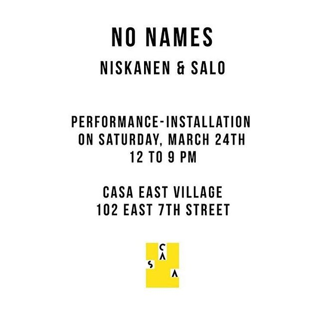 Today! From noon to 9 PM. More info: casacasanyc.com/no-names