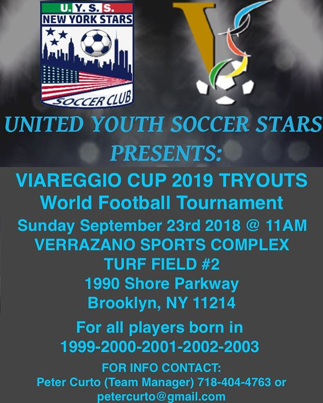Viareggio Tryouts are back. All U-19 players are invited. Uyssny.com