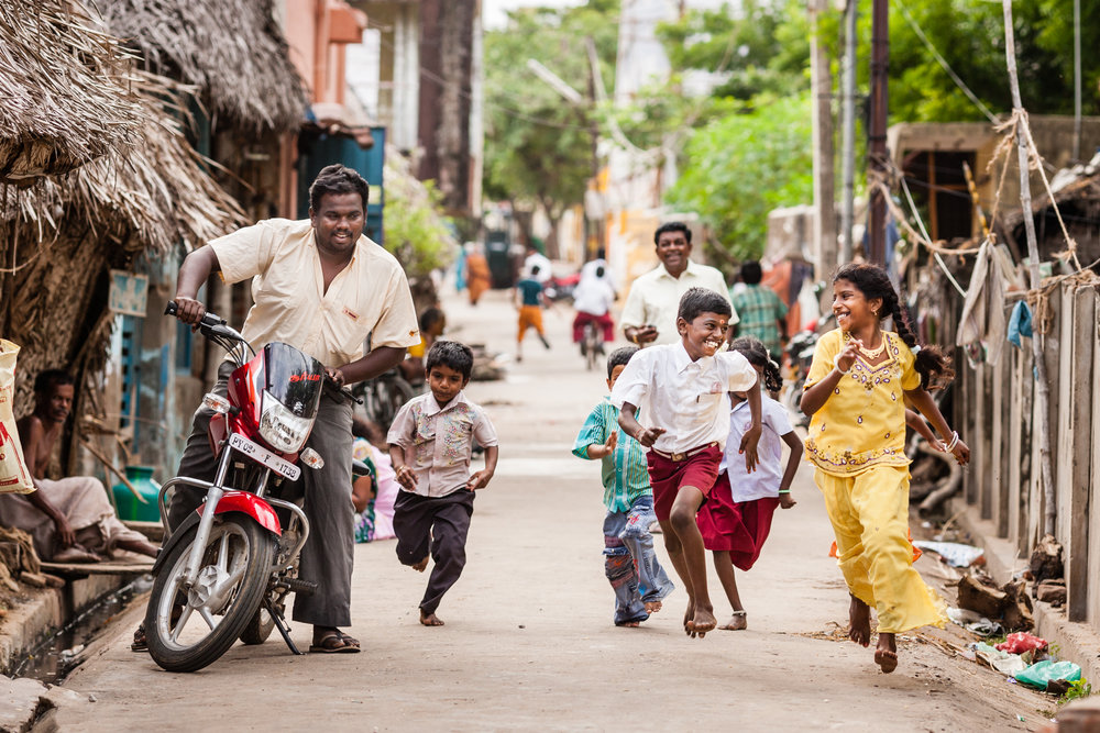 Healthy children playing in the streets of Karaikal in Tamil Nadu, India - one of the areas where lymphatic filariasis has been targeted. Photograph: Ecce Opus / © Copyright GSK
