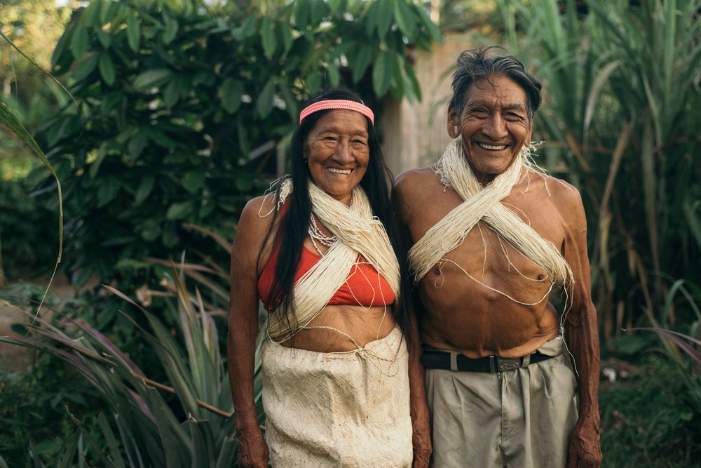The Waorani elder Minkai with his beloved wife in their community Tzapino.