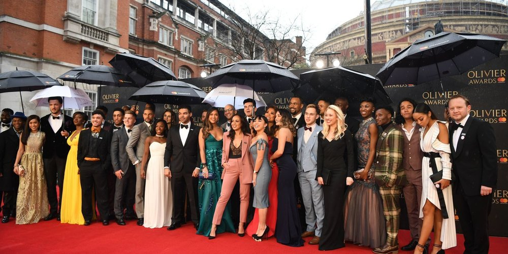The stunningly DIVERSE cast of Hamilton at the Oliviers on Sunday Afternnon.