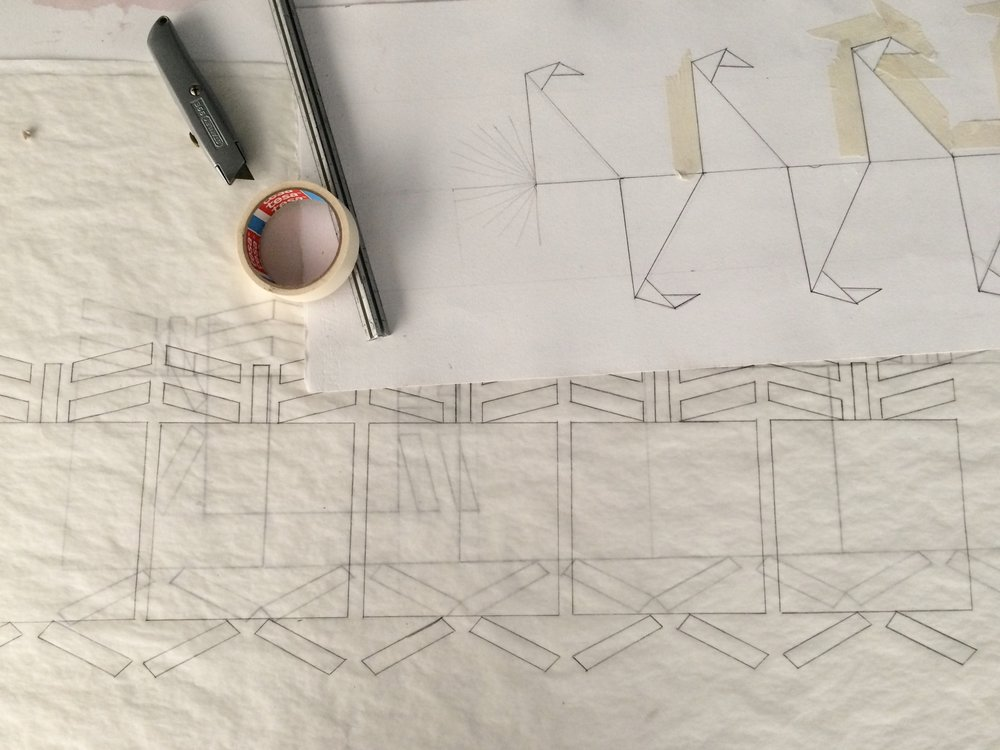 Sketches of a sculpture in progress from the artist residency of Benvenuto Ch'ab'aq Jaay