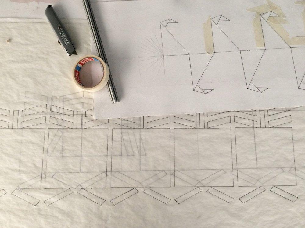 Diseños para un escultura en progreso de la residencia del artista Benvenuto Ch'ab'aq Jaay
