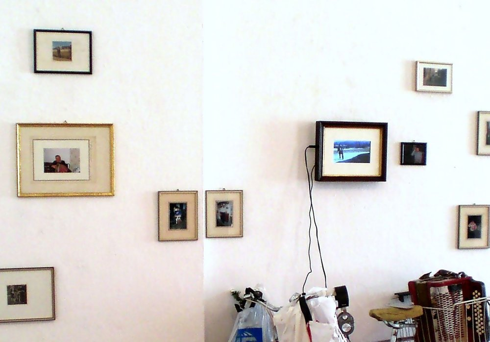 Familiensilber, Galerie3, photos of my grandaddy and his bicycle 100%, 8mm film, myself as grandaddy playing the quetschn, 2012 (1).jpg