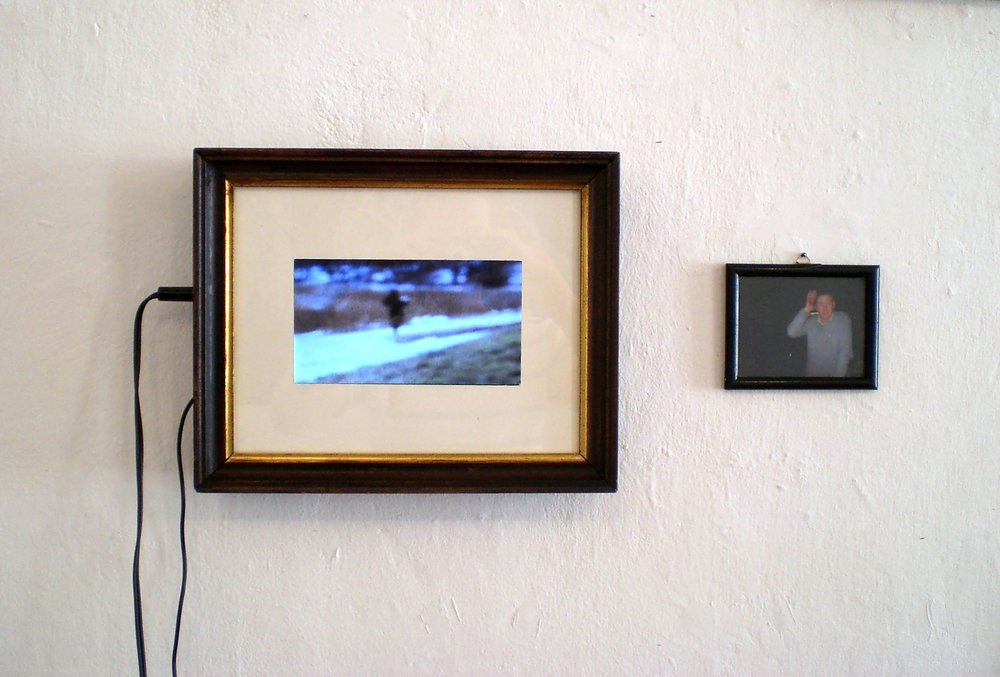 Familiensilber, Galerie3, photos of my grandaddy and his bicycle 100%, 8mm film, myself as grandaddy playing the quetschn, 2012  (2).jpg