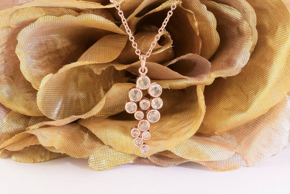 Rose Gold Rose-Cut Diamond Pendant
