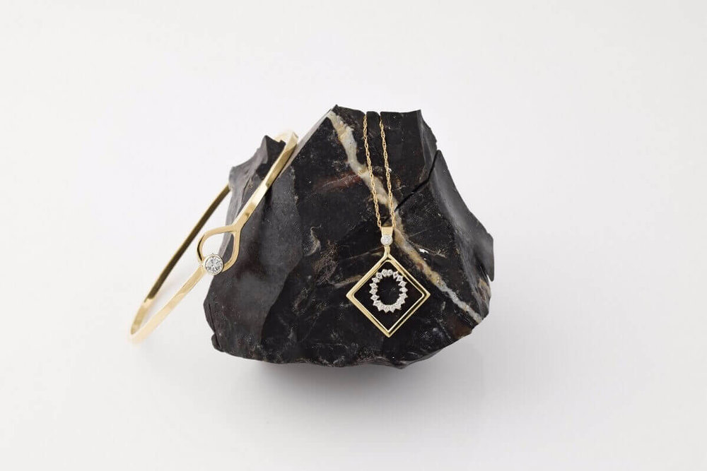 Diamond Bangle and Geometric Pendant