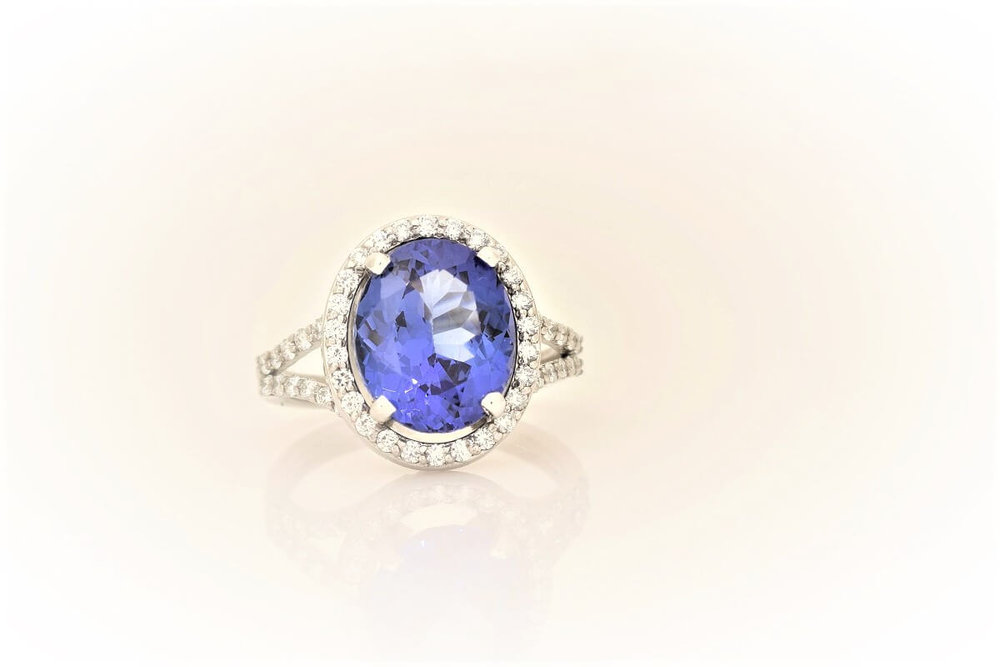Tanzanite Halo Ring