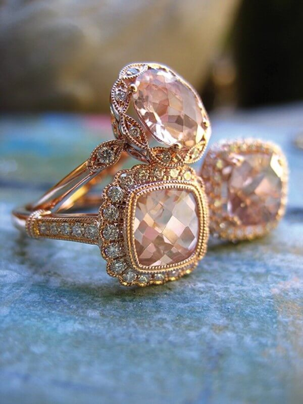 Morganite Engagement Rings in Rose Gold