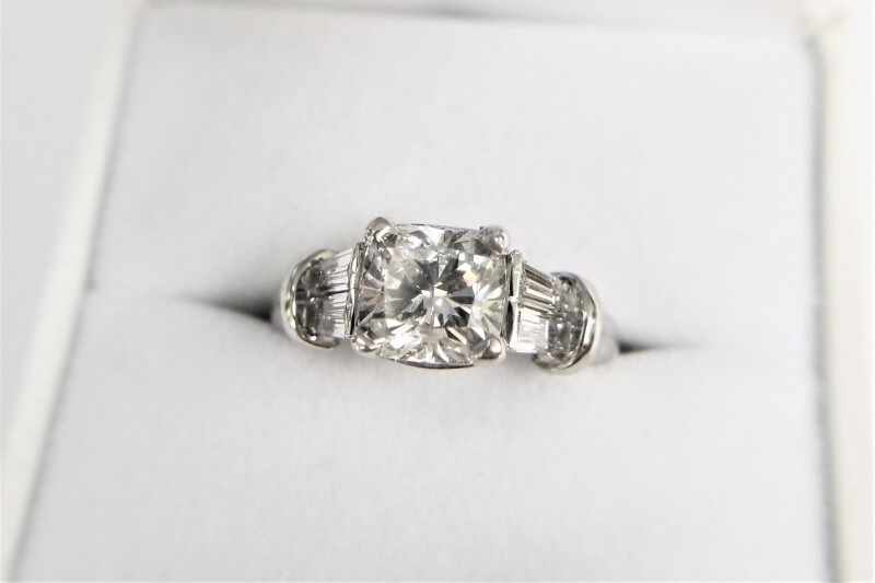 Platinum Cushion Cut Diamond Ring with Baguettes