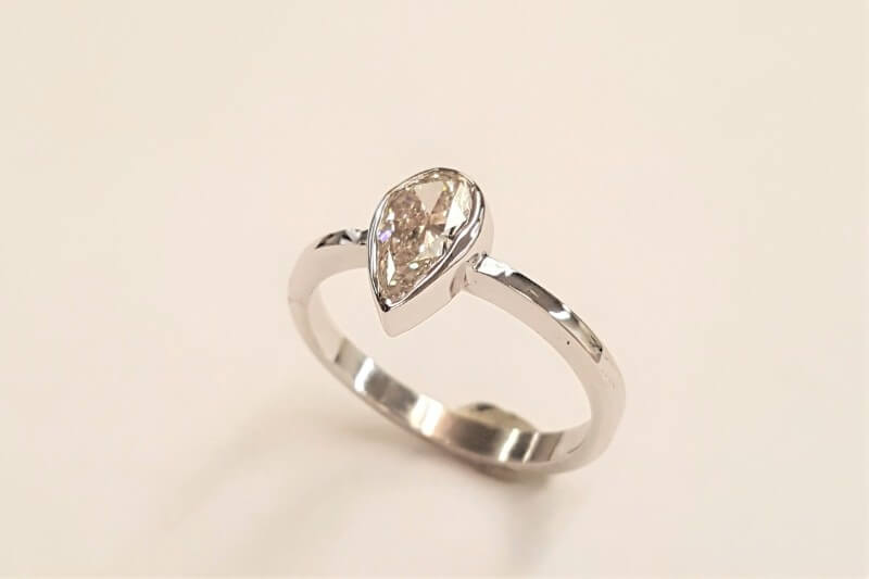 Pear-Shape Diamond Bezel Ring
