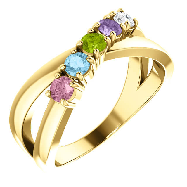 Crossover Mother's Ring - Accommodates 1 to 6 stone