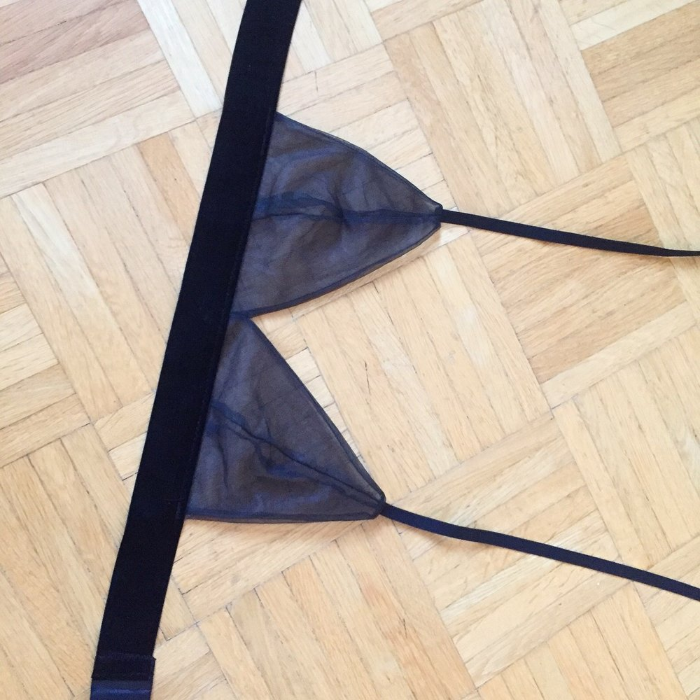 I cut out the shape of a bralette and sew them together