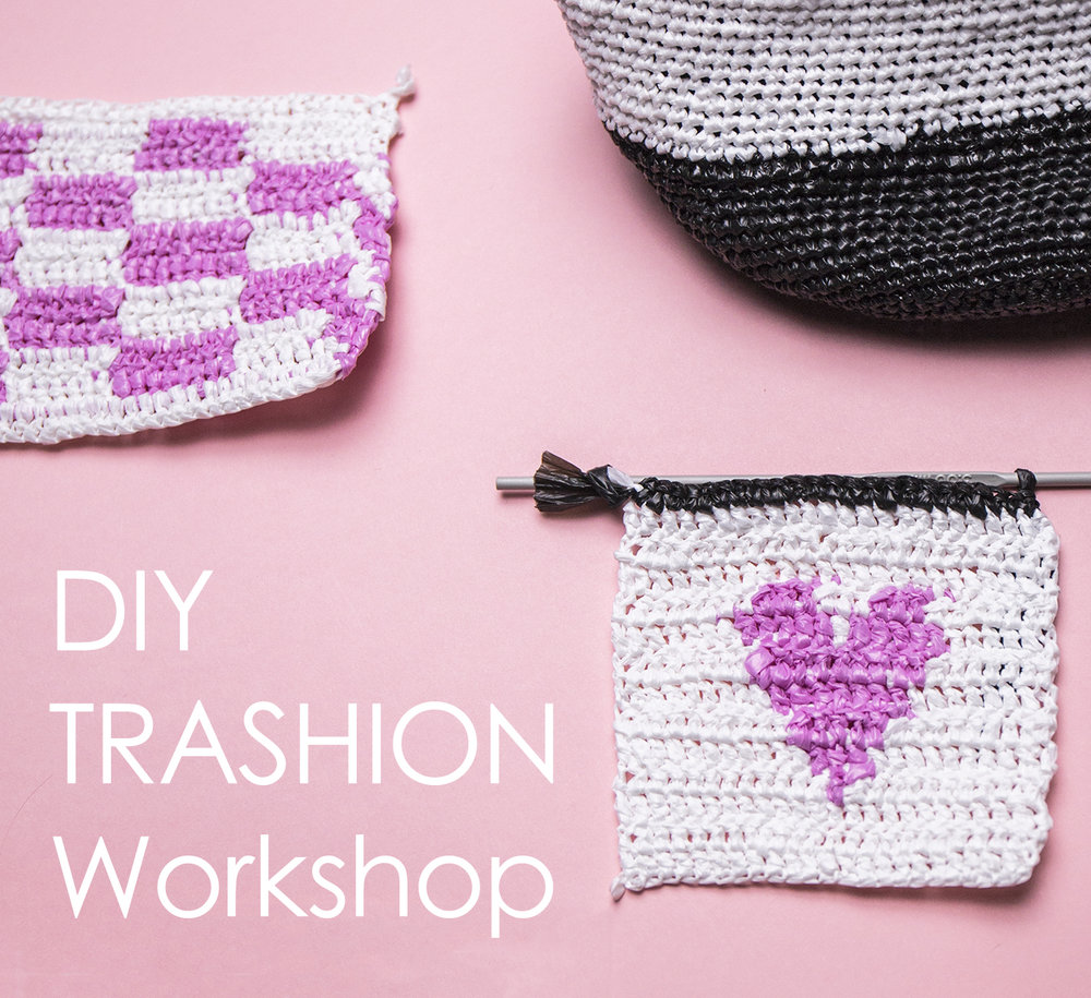 Diy Trashion Workshop Plastic Bags Coaster Crochet Upcycle With Jing