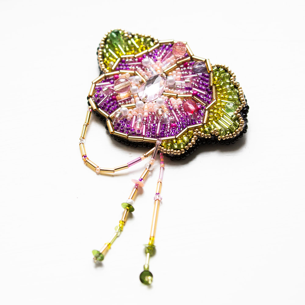 Floral embroidery brooch
