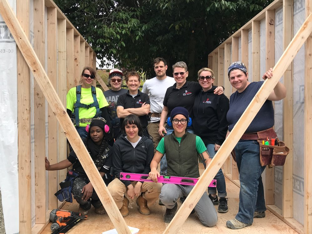 The Village: Tiny House Volunteer Build - The AmyWorks team (with friends & family) built a tiny home for The Village, a tiny house community for women experiencing homelessness.  Partnering with the Low Income Housing Institute, we built a tiny house in one day! Check out AmyWorks in the Seattle Times!