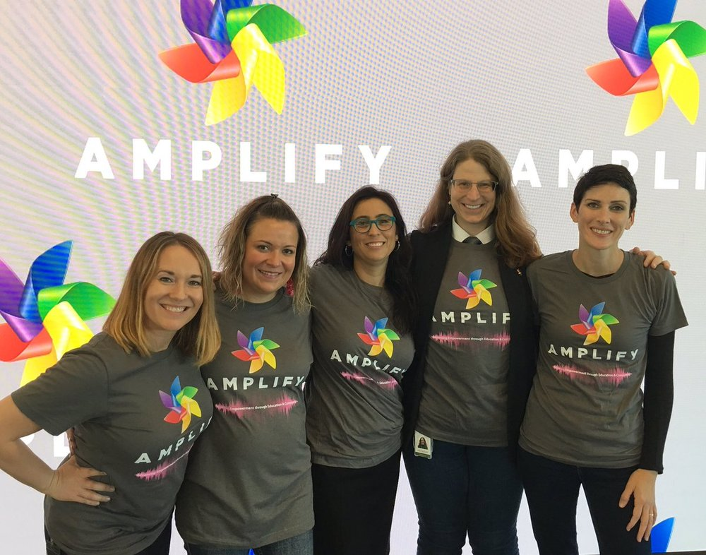 Amplify Board Members at Dreamforce 17 (left to right): Amy Pannu, Joanna Iturbe, Marisa Lopez, Tracy Kronzak, and Joni Bryan. Amplify Board Members not shown: Jace Bryan, Judi Sohn, and Michelle Regal.