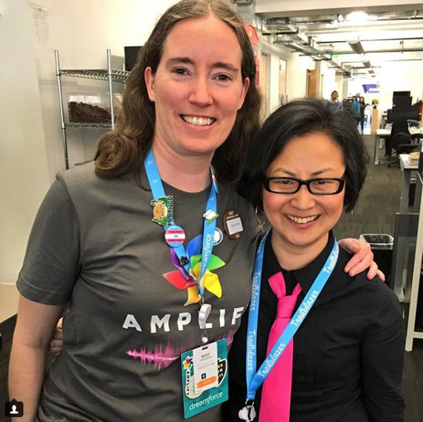 Left: Missy Longshore, member of the Girlforce Leadership Team Alumni, at Dreamforce 2017's Women in Tech Diversity Breakfast, wearing her new Amplify t-shirt; Right: Rachel, wearing one of her ties — which (surprisingly) coordinated perfectly with Missy's shirt! :)