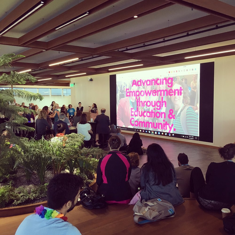 At the Amplify (formerly Girlforce)@Dreamforce breakfast in Salesforce Tower, where we launched the new Amplify website and first shared my survivor story with the Ohana.
