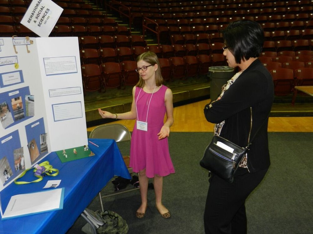 2016 Science Fair - Education Chair Dena Elrod visits booths.jpg