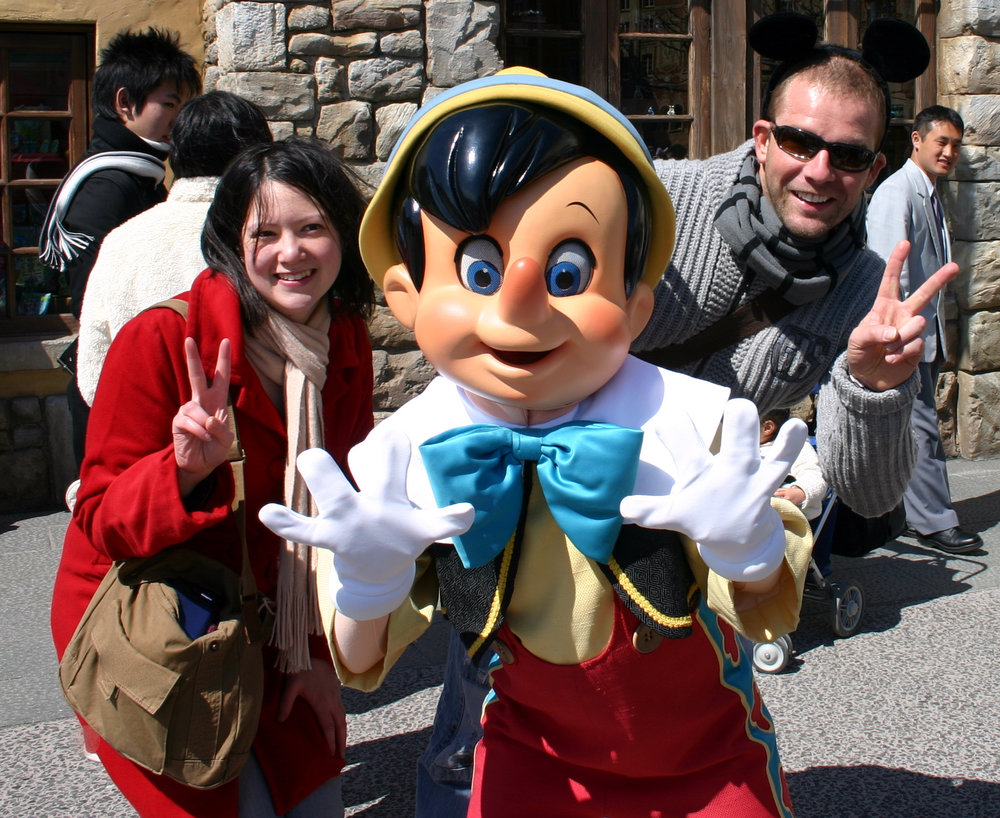Alicia and Tim with habitual fibber, Pinocchio