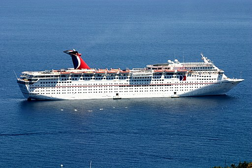 Carnival Ecstasy cruise ship at anchor off Santa Catalina Island.