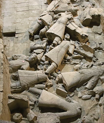 While most people associate the Terracotta Army with legions of infantrymen in battle formation, much of the site rests in broken pieces.