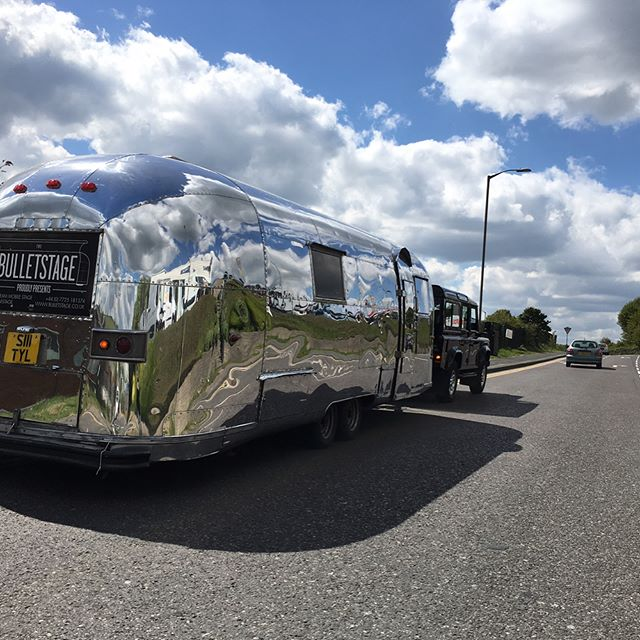 Bulletstage 1 freshly polished and on the road to Liverpool for a gig at Liverpool One! Bands provided by the fab Sound City Fedtival, PA, backline and Engineers by Bulletstage. #soundcity17, #liverpoolone, #airstream, #airstreamstage, #ampegamps, #fenderamps, #marshallamps, #hkaudio, #ludwigdrums, #midasm32