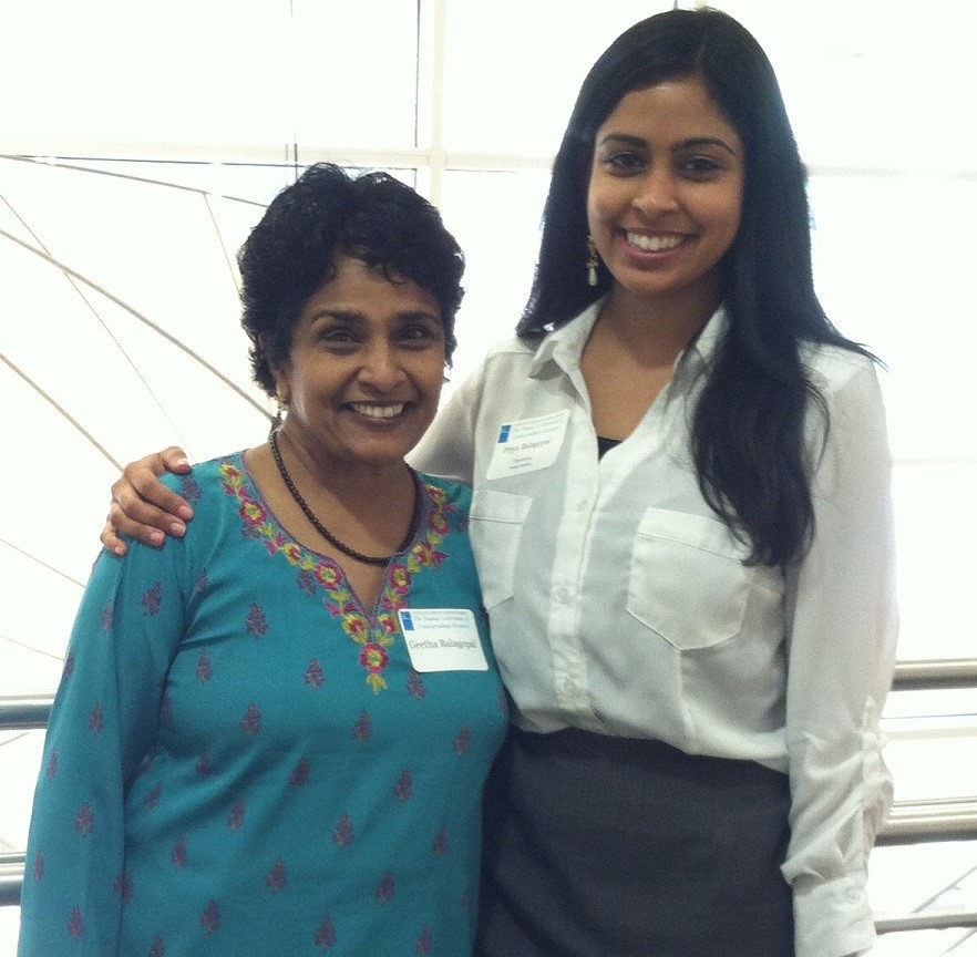 Geetha Balagopal with her daughter Priya in 2014 just before her graduation.