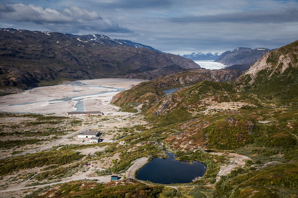 A view over the valley and forest towards the Inland Ice behind Narsarsuaq in South Greenland.jpg