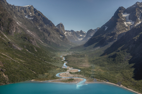 The Qingua valley and the river running into the almost fjord-like Tasersuaq lake near Nanortalik in South Greenland.jpg