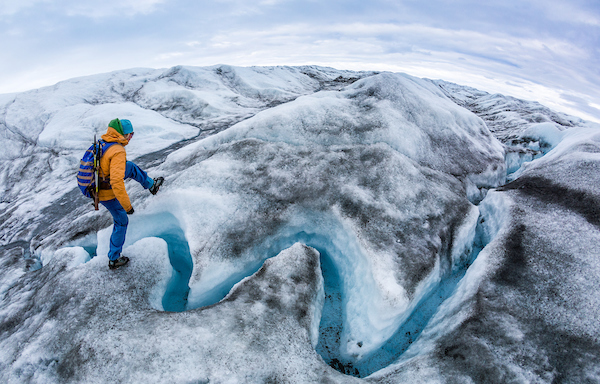 Glacier walking on the Greenland Ice Sheet near Kangerlussuaq with Albatros Arctic Circle includes hopping over a glacial river or two.jpg