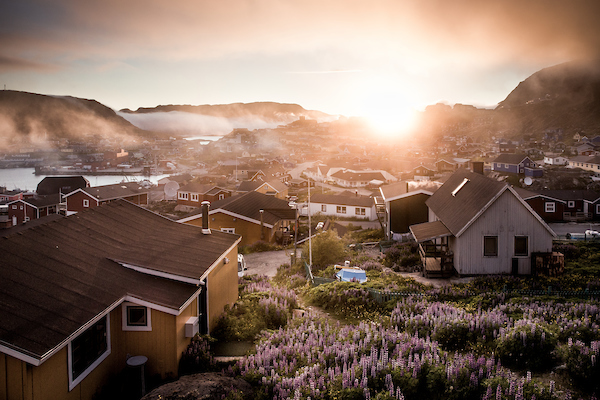 Sunset over Qaqortoq in South Greenland.jpg