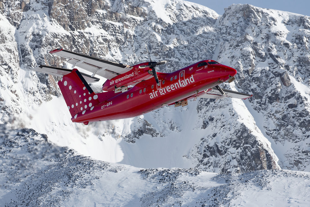 An Air Greenland Dash-8 taking off from Kulusuk in East Greenland.jpg