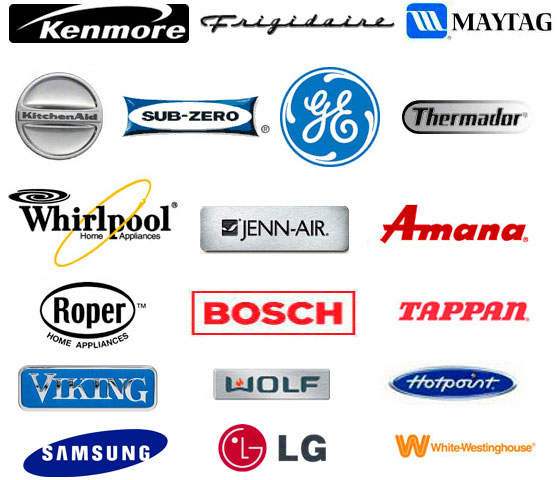 Service and parts for Kenmore, Frigidaire, Maytag, KitchenAid, Whirlpool, Subzero, GE, Thermador, Whirlpool, Jenn-Air, Amana, Roper, Bosch, Tappan, Viking, Wolf, Hotpoint, Samsung, LG, Westinghouse, Dacor, Fisher & Paykel, Insinkerator, Danby, Asko, Miele, and many more