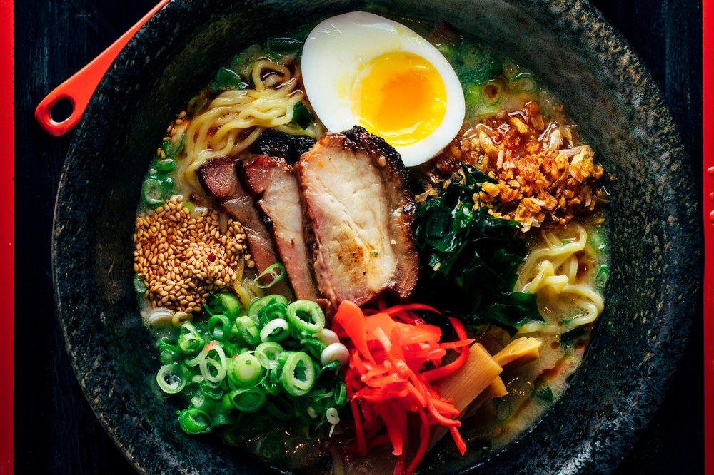 Ramen-san - $$, River North, Fulton Market, Ramen, Vegetarian, Sidewalk Seating, Patio Doors
