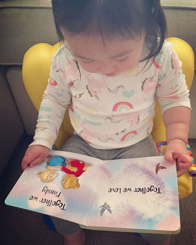 Our sweet little friend reading her copy of Together Bears. #togetherbearsbook #childrensbooks