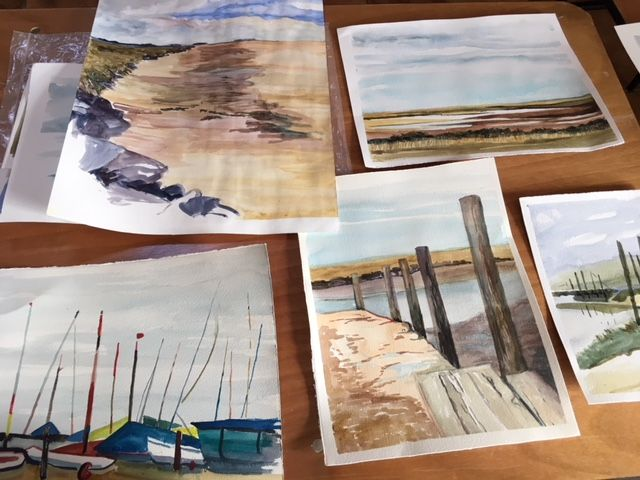 Students' paintings with Jem Bowden -