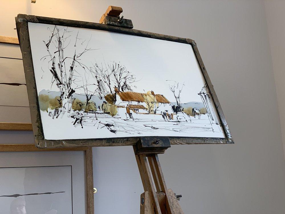 - John Hoar - line and wash demo on Sussex Farm, half-way through