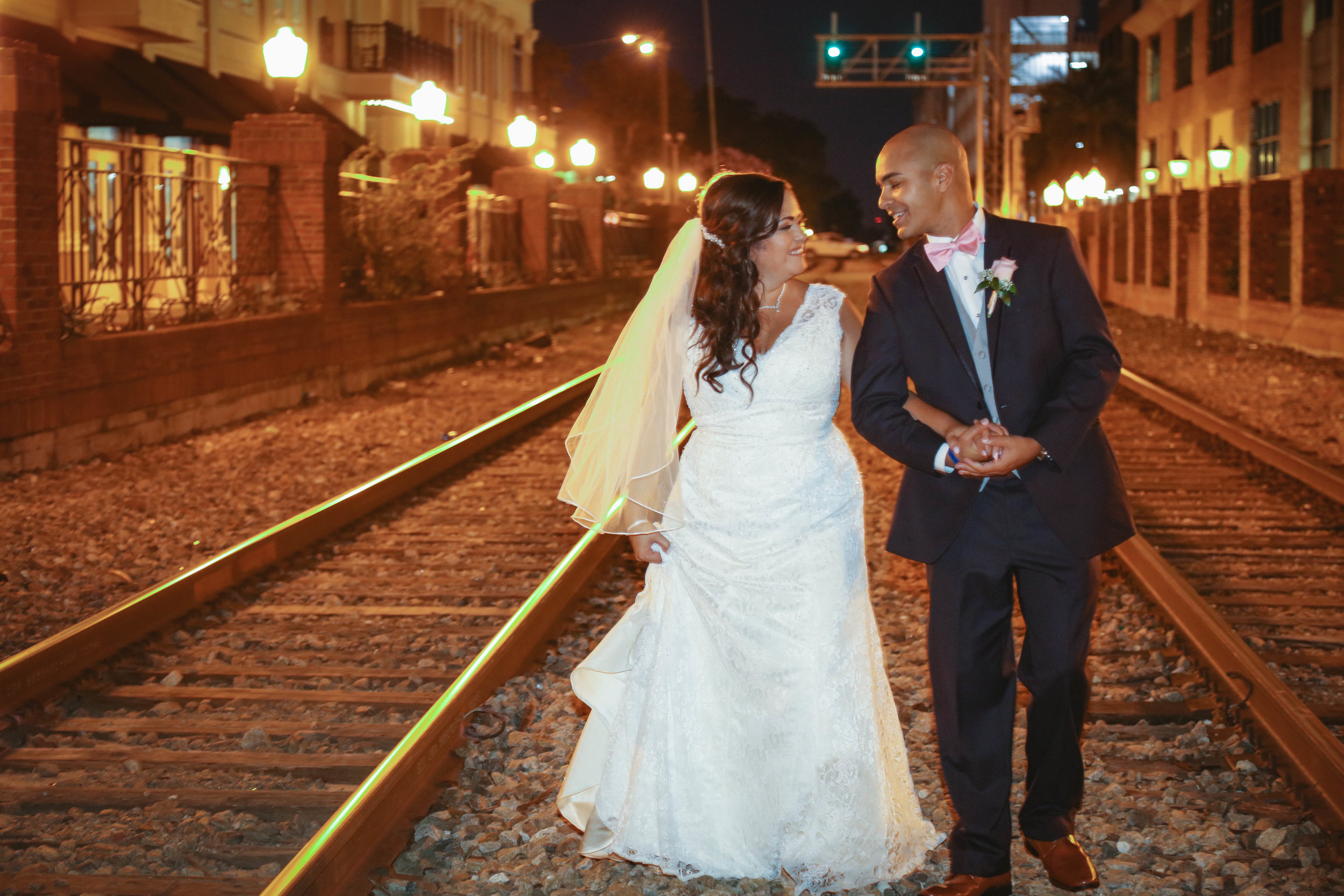 happy relationships, wedding, downtown orlando, wedding photo, railroad, bride, groom