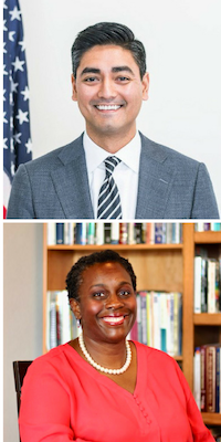 Top: Aftab Pureval. Bottom: Dr. Vanessa Enoch. mages provided by the campaigns.