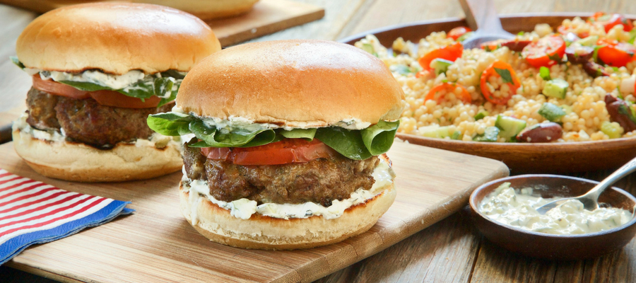 Grilled Lamb Burger with Vegetable Couscous Salad