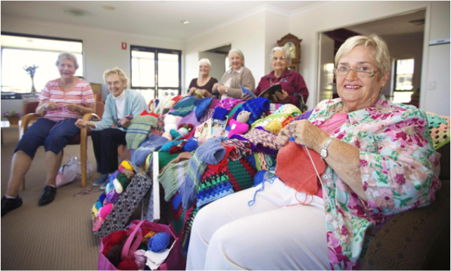 Seniors knitting, via: Tall Trees Supported Living Blog