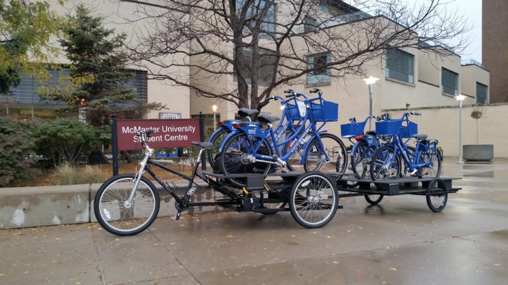 Sobi bikes prepared to be moved on McMaster's central campus