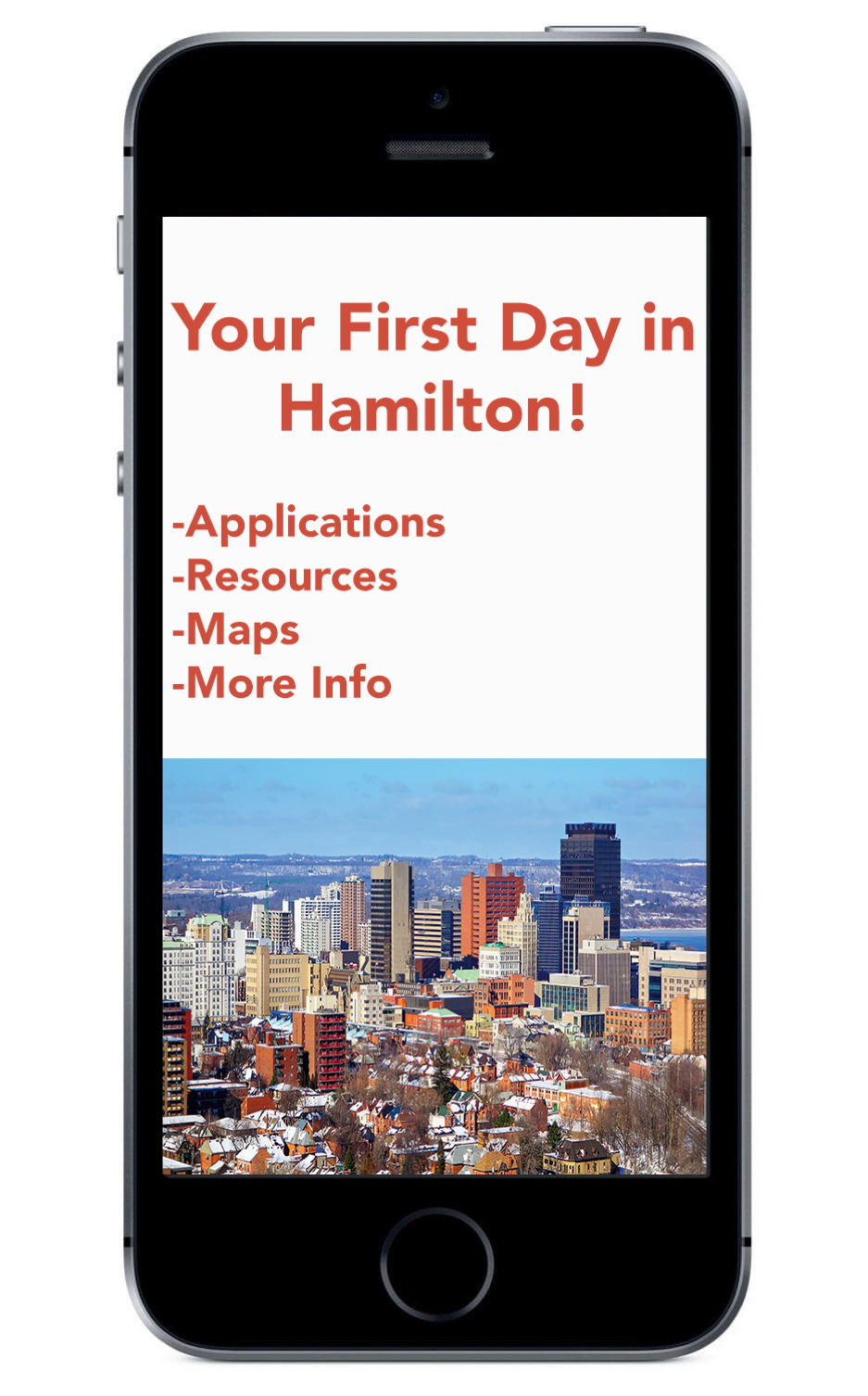 Mock up of the your first days in Hamilton app