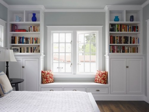 Custom Cabinets Bookshelf Windows White Wood Millwork